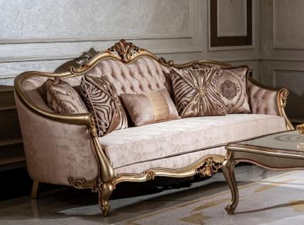 Casa Padrino Luxus Barock Sofa Rosa / Gold - Handgefertigtes Wohnzimmer Sofa mit dekorativen Kissen - Wohnzimmer Möbel - Barock Möbel
