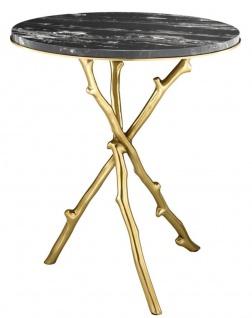 Casa Padrino Luxus Wohnzimmer Beistelltisch in gold mit schwarzer Marmorplatte 50 x H. 57 cm - Limited Edition
