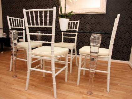Designer Acryl Esszimmer Set Weiß/Creme - Ghost Chair Table - Polycarbonat Möbel - 1 Tisch + 4 Stühle - Casa Padrino Designer Möbel
