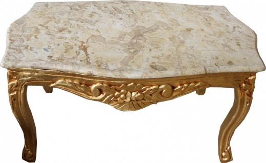Casa Padrino Barock Couchtisch Gold mit cremefarbener Marmorplatte 99 x 63 cm - Limited Edition