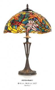 Handgefertigte Tiffany Hockerleuchte Tischleuchte Höhe 60 cm, Durchmesser 40 cm - Leuchte Lampe - Vorschau