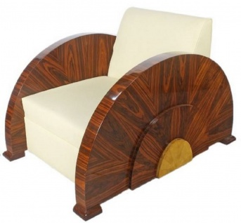 Casa Padrino Art Deco Sessel Weiß / Braun 75 x 110 x H. 80 cm - Lounge Sessel - Art Deco Möbel - Luxus Qualität