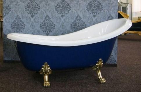 Casa Padrino Luxus Jugendstil Badewanne Weiß / Saphirblau / Gold 174 x 83 x H. 81 cm - Freistehende Retro Badewanne mit Löwenfüßen - Retro Badezimmer Möbel