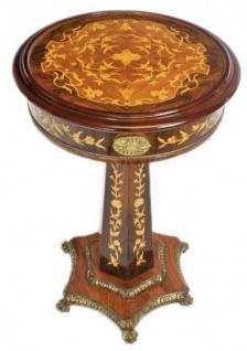Casa Padrino Barock Beistelltisch Mahagoni Intarsien H110 x 55cm - Ludwig XVI Antik Stil Tisch - Möbel - Vorschau 2
