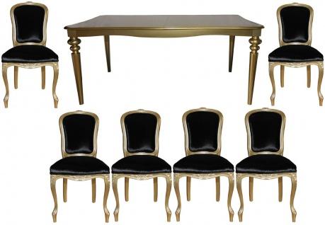 Casa Padrino Barock Luxus Esszimmer Set Schwarz/Gold - Esstisch + 6 Stühle - Möbel Antik Stil - Luxus Qualität - Limited Edition