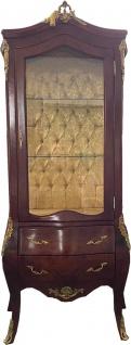 Casa Padrino Barock Vitrine Braun / Messing - Vitrinenschrank - Wohnzimmerschrank - Glasvitrine - Antik Stil Möbel