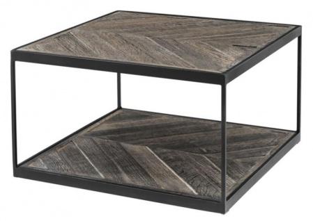 Casa Padrino Designer Beistelltisch aus verzinktem Stahl und verwittertem Eichenholz - Luxus Kollektion