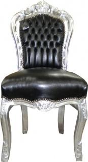 Casa Padrino Barock Esszimmer Stuhl Schwarz Lederoptik / Silber