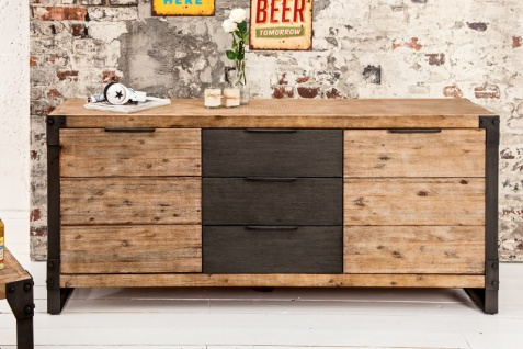 Casa Padrino Luxus Sideboard B.180 x H.80 x T.45 - Fernsehschrank - Kommode - Handgefertigt aus Massivholz!