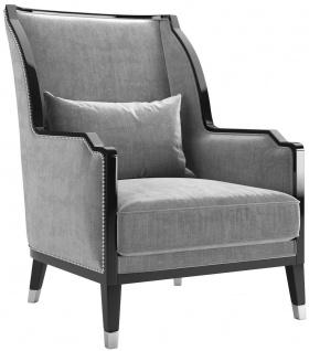 Casa Padrino Luxus Art Deco Samt Sessel Grau / Schwarz / Silber 75 x 90 x H. 103 cm - Edler Wohnzimmer Sessel - Luxus Qualität - Art Deco Möbel