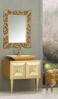 Casa Padrino Luxus Barock Badezimmer Set Gold - Waschtisch mit Waschbecken und Wandspiegel - Barock Badezimmermöbel - Edel & Prunkvoll