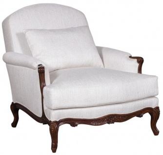 Casa Padrino Luxus Barock Sessel Weiß / Dunkelbraun - Wohnzimmer Sessel im Barockstil - Barock Wohnzimmer Möbel - Edel & Prunkvoll