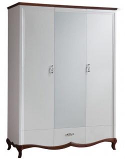 Casa Padrino Luxus Art Deco Schlafzimmerschrank Weiß / Dunkelbraun 164, 2 x 62, 5 x H. 209, 5 cm - Kleiderschrank mit Spiegel 2 Türen und Schublade - Schlafzimmermöbel