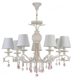 Casa Padrino Jugendstil Kristall Kronleuchter 7-Flammig Creme / Rosa Ø 81 x H. 65 cm - Lüster mit weißen Lampenschirmen