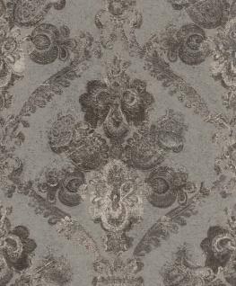 Casa Padrino Barock Textiltapete Silber / Anthrazit 10, 05 x 0, 53 m - Wohnzimmer Deko Accessoires