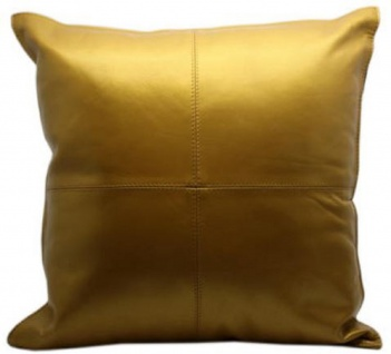 Casa Padrino Luxus Echtleder Deko Kissen Gold Metallic 40 x H. 40 cm - Deko Accessoires