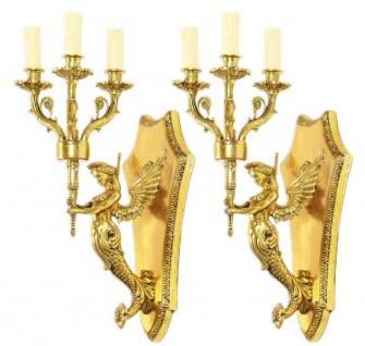 Casa Padrino Barock Wandkerzenhalter Set Gold 20 x 20 x H. 50 cm - Barock Deko Accessoires - Vorschau 2