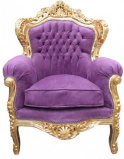 "Casa Padrino Barock Sessel "" King"" Mod 2 Lila / Gold Möbel Antik Stil"