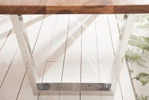 Casa Padrino Designer Esstisch Braun / Silber 200 x 98 x H. 76 cm - Luxus Küchentisch mit massiver Sheesham Holz Tischplatte und polierten Edelstahl Beinen - Vorschau 5