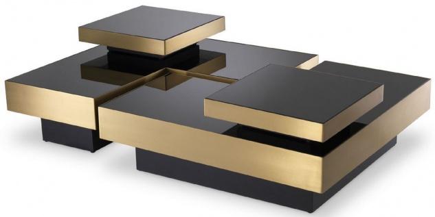 Casa Padrino Luxus Couchtisch Set Messingfarben / Schwarz - 2 L-förmige Wohnzimmertische mit 2 quadratischen Tabletts - Wohnzimmer Möbel - Luxus Kollektion