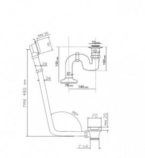 Ab und Überlauf System inkl. Siphon für Nostalgie Badewanne Venedig, Paris, Milano - Chrom - Vorschau 2