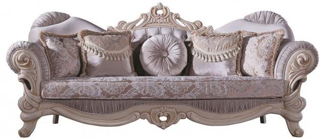 Casa Padrino Luxus Barock Wohnzimmer Sofa mit Glitzersteinen und dekorativen Kissen Flieder / Creme / Beige 230 x 85 x H. 110 cm - Edel & Prunkvoll