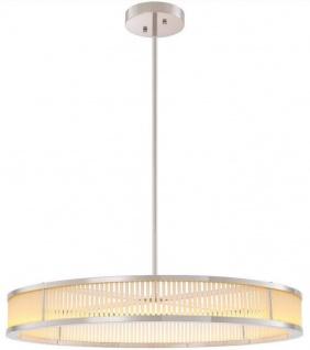 Casa Padrino Luxus LED Kronleuchter Silber / Weiß Ø 90 x H. 15 cm - Moderner runder dimmbarer Kronleuchter - Luxus Qualität