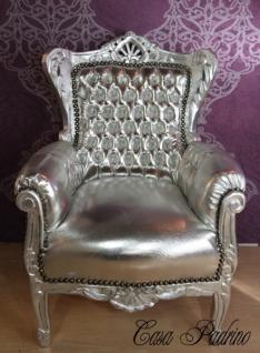 Casa Padrino Barock Kinder Sessel Silber/Silber - Thron Tron