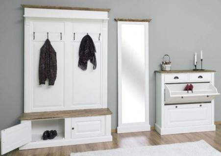 Casa Padrino Landhausstil Massivholz Garderobenmöbel Set Weiß / Braun - Garderobenschrank - Spiegel - Schuhschrank - Möbel im Landhausstil - Vorschau 3