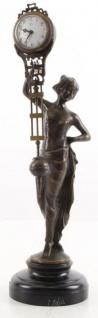 Casa Padrino Jugendstil Tischuhr Frau Bronze / Schwarz 11, 1 x 10, 6 x H. 38 cm - Bronzefigur mit Marmorsockel und Uhr - Schreibtischuhr