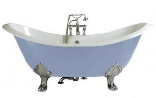 Casa Padrino Luxus Jugendstil Gusseisen Badewanne Hellblau / Weiß / Silber 180 x 77 x H. 79 cm - Gebogene freistehende Badewanne - Barock & Jugendstil Badezimmer Möbel