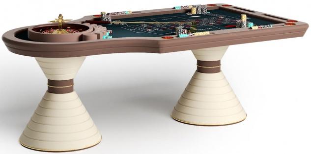 Casa Padrino Luxus Roulette Tisch Braun / Creme / Gold 230 x 125 x H. 79 cm - Edler Massivholz Roulette Tisch - Casino Tisch - Hotel Kollektion - Luxus Qualität - Made in Italy