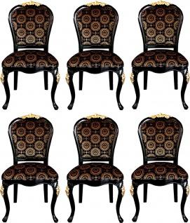 Pompöös by Casa Padrino Luxus Barock Esszimmerstühle mit Krone Schwarz / Gold - Pompööse Barock Stühle designed by Harald Glööckler - 6 Esszimmerstühle - Barock Esszimmermöbel