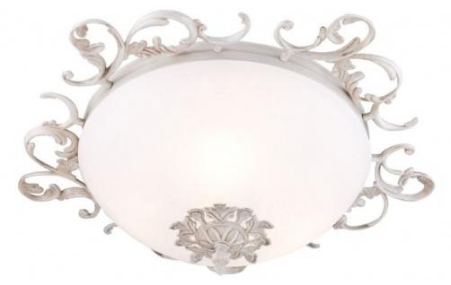 Casa Padrino Barock Deckenleuchte Antik Weiß / Weiß Ø 42 x H. 16 cm - Barock Deko Accessoires