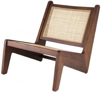 Casa Padrino Designer Wohnzimmer Sessel Braun / Naturfarben 75 x 89 x H. 77, 5 cm - Massivholz Sessel mit handgewebtem Rattangeflecht - Luxus Möbel