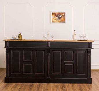 Casa Padrino Landhausstil Thekenschrank Antik Schwarz / Naturfarben 220 x 65 x H. 107 cm - Ladentheke mit Schubladen und Ablagefächer