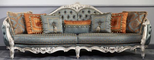 Casa Padrino Luxus Barock Sofa Dunkeltürkis / Gold / Silber 310 x 99 x H. 113 cm - Prunkvolles Chesterfield Wohnzimmer Sofa im Barockstil