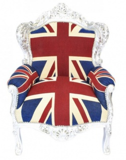"Casa Padrino Barock Sessel "" King"" Union Jack / Silber - Möbel Antik Stil- Englische Flagge"