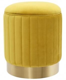 Casa Padrino Hocker Gelb / Messing Ø 40 x H. 45 cm - Luxus Sitzhocker