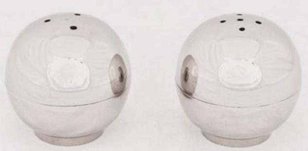 Casa Padrino Designer Salz & Pfefferstreuer Set Silber - Kugelförmige Messing Salz & Pfefferstreuer - Hotel & Restaurant Accessoires