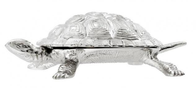 Casa Padrino Luxus Schatulle mit Deckel Schildkröte Messing vernickelt 26, 5 x 15 x H. 8 cm - Luxus Dekoration - Vorschau 5