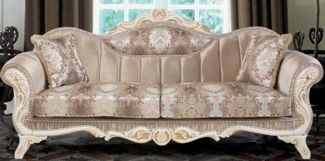 Casa Padrino Luxus Barock Sofa mit Kissen Beige / Weiß / Gold 237 x 90 x H. 99 cm - Barock Wohnzimmer Möbel