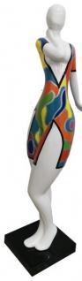 Casa Padrino Designer Deko Skulptur Frau mit Kleid Weiß / Mehrfarbig H. 102 cm - Wetterbeständige Dekofigur - Deko Accessoires