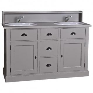 Casa Padrino Landhaus Stil Waschschrank Waschtisch inkl 2 Waschbecken mit Schubladen und Schranktüren - Bad Schrank Massivholz - Vorschau 3