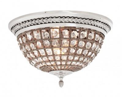 Casa Padrino Luxus Deckenleuchte Nickel Durchmesser 45 x H 37 cm Antik Stil - Möbel Lüster Deckenlampe