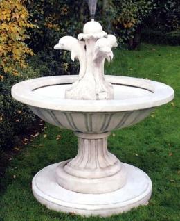 Casa Padrino Jugendstil Gartenbrunnen Weißgrau Ø 130 x H. 145 cm - Runder Springbrunnen mit dekorativen Delfinen - Gartendeko