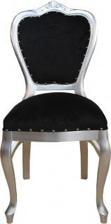 Casa Padrino Luxus Barock Esszimmer Set Schwarz / Silber - 6 handgefertigte Esszimmerstühle - 2 Stühle mit Armlehnen und 4 Stühle ohne Armlehnen - Barock Esszimmermöbel - Vorschau 3