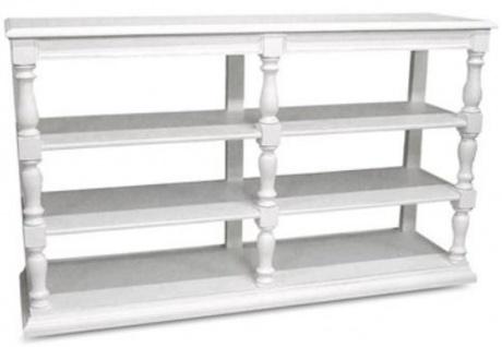 Casa Padrino Landhausstil Konsole Weiß 160 x 45 x H. 95 cm - Massivholz Regalschrank - Landhausstil Möbel