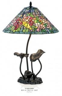Handgefertigte Tiffany Hockerleuchte Tischleuchte Höhe 61 cm, Durchmesser 41 cm - Leuchte Lampe