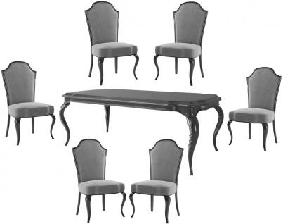 Casa Padrino Luxus Barock Esszimmer Set Grau / Schwarz / Silber - 1 Esszimmertisch & 6 Esszimmerstühle - Barock Esszimmermöbel - Luxus Qualität - Edel & Prunkvoll